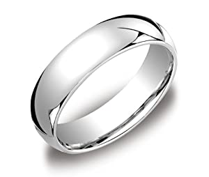 Men's Platinum Comfort-Fit Plain Wedding Band (6 mm), Size 10.5