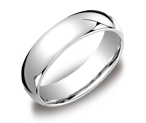 Men's 14k White Gold 6mm Comfort Fit Wedding Band Ring, Size 12