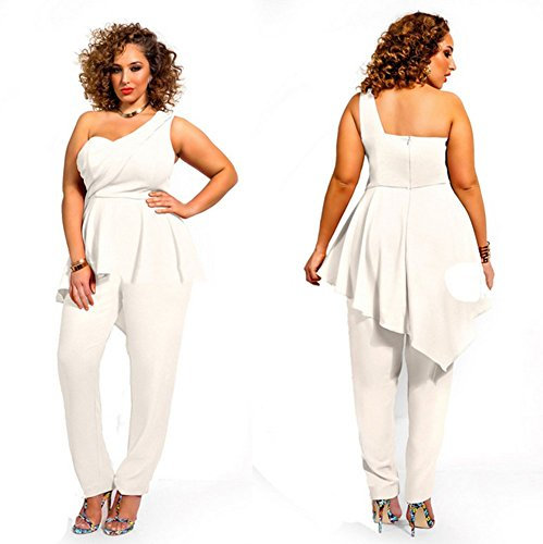 Hot Sexy Womens One Shoulder Plus Size Wrapped Dress Romper