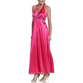 glam prom dress, pink halter