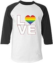 Love Rainbow Heart Baseball Shirt Gay Pride Equal Rights Raglan Shirt