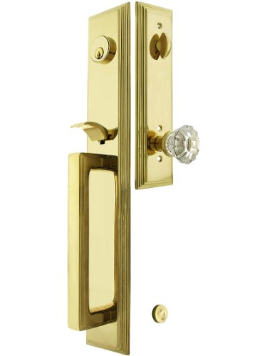 """Melrose Style Tubular Handleset In Pvd With Astoria Knobs And 2 3/4"""" Backset. Antique Handles. front-701844"""