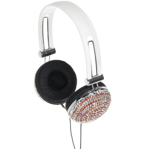 Edm Rhinestone Over Ear Dj Style Headphones (White Swirl)