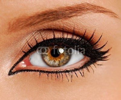 Wallmonkeys Peel and Stick Wall Decals - Woman Close-up Eye. False Lashes. Liner. - 24
