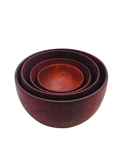 Be Home Set of 4 Rosewood Bowls, Brown
