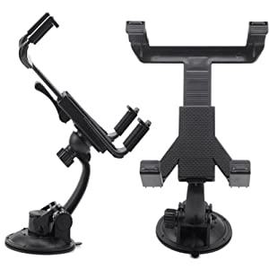 HDE Universal Adjustable 360° Rotating Tilt Swivel Suction Cup Car Dash Windshield Dashboard Tablet Mount Holder for iPad 2/3/4 Air 1/2 Mini 1/2/3 and Retina