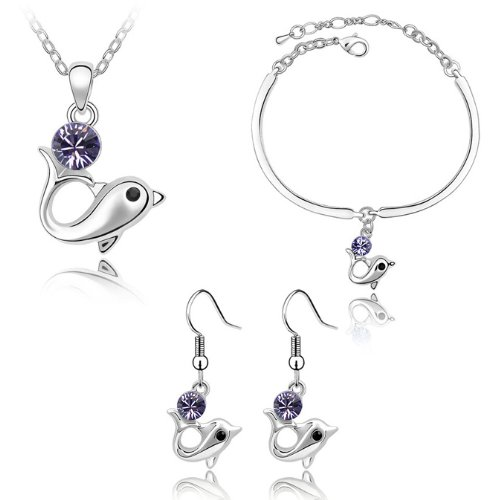 Nicedeco Je-Sw-Tz107-Purple,Swarovski Elements Austrian Crystal Jewelry Sets,The Story Of Dolphin,Necklace,Bracelet And Earring(3-Piece Set),Elegant Style And Exquisite Craftsmanship