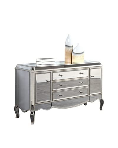 Camille Mirrored Buffet, Silver Leaf