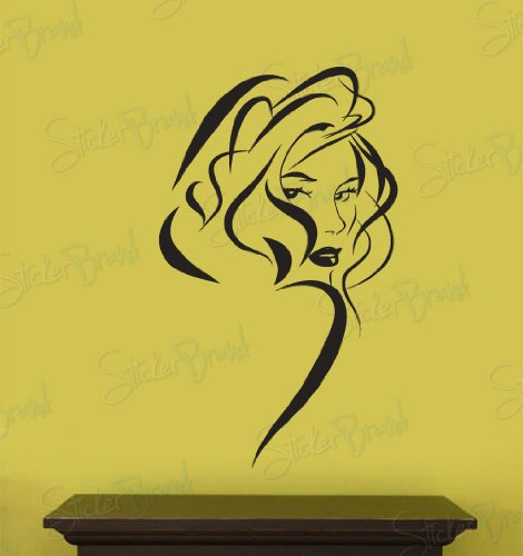 Vinyl Wall Art Decal Sticker (S) Sexy Girl Hair Style front-6859