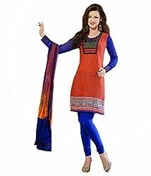 Tangerines Tfw Orange Color Unstitched Salwar Kameez Dress Material