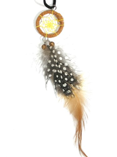 Dreamcatcher Feather Necklace Yellow Brown Wood Beaded Nl07 Black Faux Leather Native Fashion Jewelry
