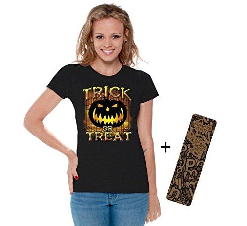Women's Halloween Shirt Trick Or Treat T-shirt Jack-O-Lantern Costume + Bookmark XL Black (Hocus Pocus Costume Shop)