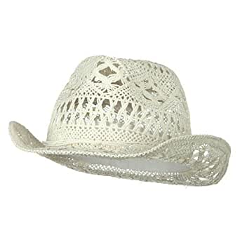 Ladies Toyo Fedora Hat - White at Amazon Women's Clothing ...