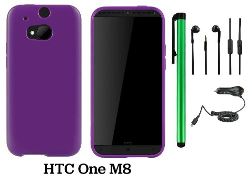 Htc One (M8) Solid Plain Color Tpu Protector Back Cover Case (2014 Q1 Released; Carrier: Verizon, At&T, T-Mobile, Sprint) + Car Charger + 3.5Mm Stereo Earphones + 1 Of New Assorted Color Metal Stylus Touch Screen Pen (Purple)