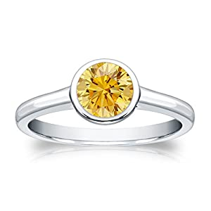 3/4 cttw Bezel set Round-cut Yellow Diamond Solitaire Ring in 14k White Gold, Size 4