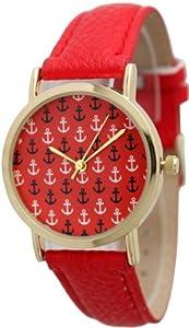 Women's Geneva Multi Anchor Design Gold Trim Leather Watch - Red Multi