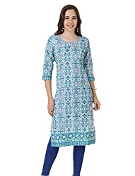 Noor Women's Cotton Print Kurta with Embroidered Patch (NW_0038S_XX-LARGE_WHITE)