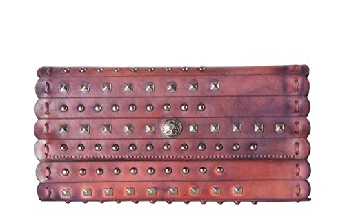 diophy-studded-mixed-color-snap-closure-distressed-genuine-leather-wallet-8235-purple
