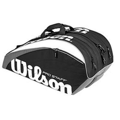 Web Description Wilson Pro Staff Super 6-Pack. Color(s) Black White Grey.  Type Racquet Thermal. Dimensions 29 L x 14 W x 14 H. a0402d4b35013