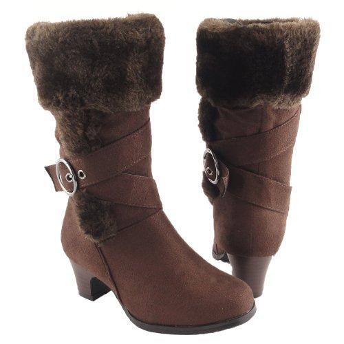 Girls' Faux Fur Collar Mid Calf High Heel Winter Suede Boots