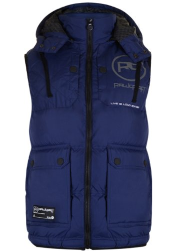 Mens 'Raw Craft' Padded Gilet With Hood & Contrast Panels. Style Name - Silva (C601209C). In Navy Size - Small