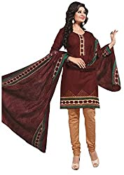 CHINTAN TEXTILES Ethnicwear Women's Dress Material Brown_Free Size