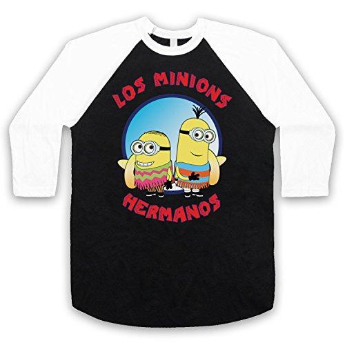 Los-Minions-Hermanos-Funny-Pollos-Parody-Manga-34-Camiseta-del-Bisbol-Negro-Blanco-Large