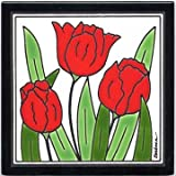 RED TULIPS TILE, RED TULIPS WALL PLAQUE, RED TULIPS TRIVET by Besheer Art Tile, Bedford, New Hampshire, U.S.A.