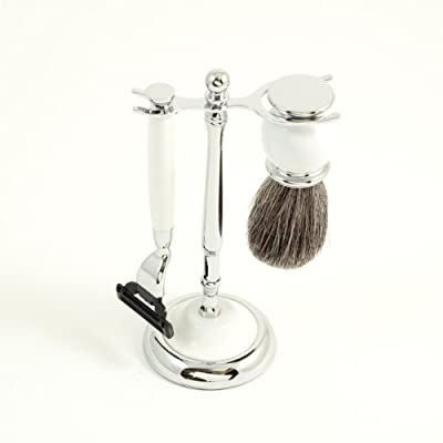 """Best Cheap Deal for Shaving Shave Set White Ceramic """"Mach 3"""" Razor Badger Brush and Stand by Bey-Berk - Free 2 Day Shipping Available"""