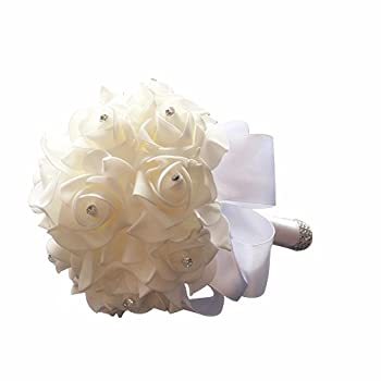 StillCool Still Pure-white Crystal Pearl Silk Roses Bridal Bridesmaid Wedding Bouquet (18cm24cm, Pure-white)