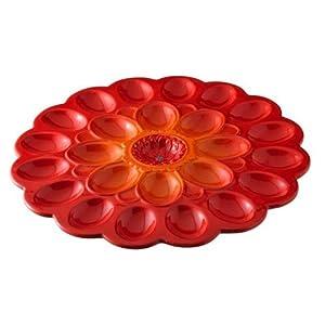 Grasslands Road Red Flower Egg Plate