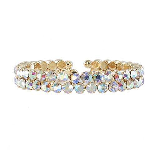 JOA Two Line Crystal Stone Cuff Bracelet #041373
