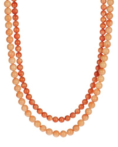 2-Row 2 Tone Pink Coral Beaded Necklace Vermeil Clasp, 18