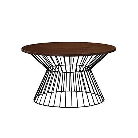 Nina table basse ronde 80x80 cm - bois naturel et noir