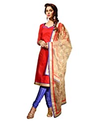 Sonal Trendz Red Color Embroidery Semi-Stitched Suit. Festive Wear Party Wear - B0173BZZMQ