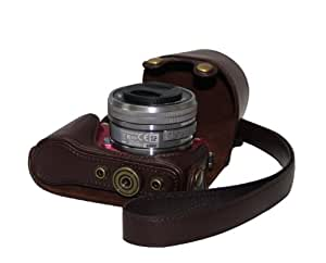 "MegaGear ""Ever Ready"" Protective Brown Leather Camera Case, Bag for Sony NEX-3N with Sony SELP1650, Sony A5000, Sony A5100 16-50mm Lens"