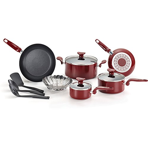 T-fal 12-Piece Aluminum Nonstick Contraction Oven-safe Cookware Set, Red (Bella Ceramic Cookware Set compare prices)