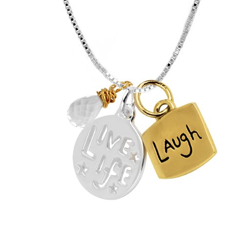 "14k Yellow Gold Plated Sterling Silver ""Live Life"" and ""Laugh"" ""Two-Tone"" Charm Necklace with Crystal, 18"""