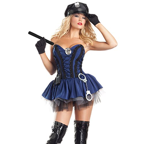 AMOS Ladies Sexy Police Officer Cop Halloween Costume (Blue)