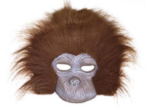 [Chimp Gorilla Half Mask Fun Fur Latex Animal Brown Costume Accessory Jungle New] (Chimp Hands Costume)