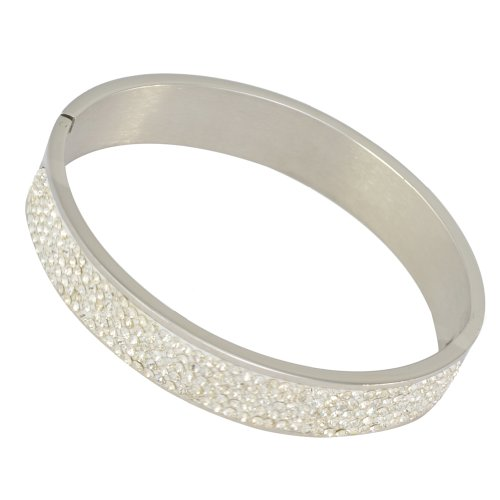 Kadima Stainless Steel Bangle With 5-Line Clear Gemstone