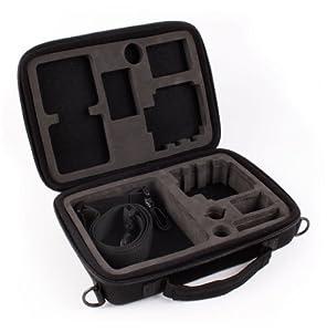 Maßgefertigter Koffer für alle GoPro Kameras (Hero 1, 2, 3, 3+) und Zubehör + 1 USB Auto-Ladeadapter