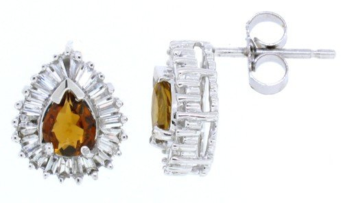 0.56Ct Pear Shaped Yellow Tourmaline Earring with Diamonds in 14Kt White Gold