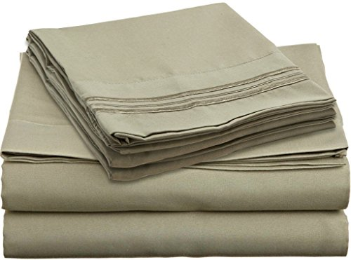 Hcs Hotels Colection 2000 (New Edition) Supreme 4 Pieces Bed Sheet Set Available In 15 Colors (California King, Sage Green)