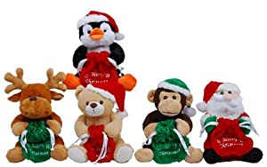 """Five 8 Inch Xmas Animals X'mas Gift 8"""" Bear or Penguin, or Reindeer or Monkey or Santa Claus Stuffed Animal with Hat Free Upgrade Shipping to USPS Priority Mail"""