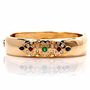 Estate 2.95cts Diamond Emerald Ruby Sapphire 18k Gold Bangle Bracelet