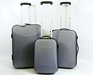 Skyhawk 3 Pcs ABS Suitcase Set Hard Shell Luggage Black