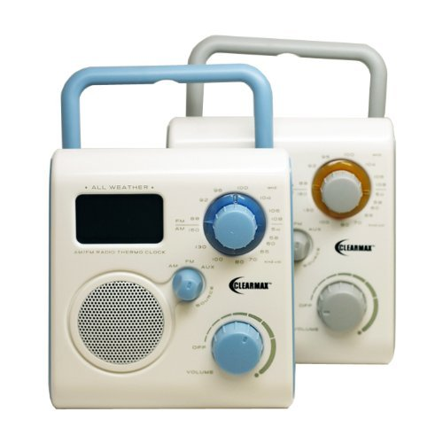 ClearMax All-Weather Portable AM/FM Shower Radio with Alarm Clock – connects to iPod, iPhone or MP3 – Blue