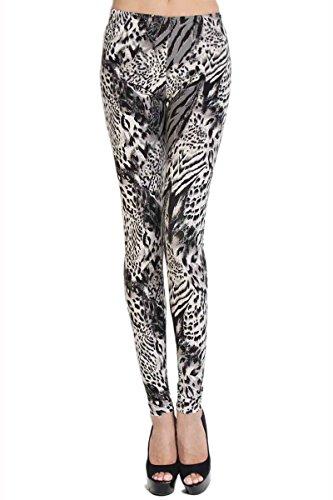 Themogan Women's Zebra Leopard Animal Print Stretch Pull On Pant Leggings-Grey-One Size