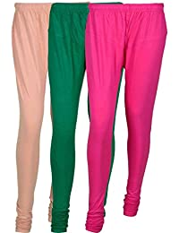 Fashion And Freedom Women's Cotton Leggings Pack Of 3_FFCL_CGM1_CREAM-GREEN-MAGENTA_FREESIZE